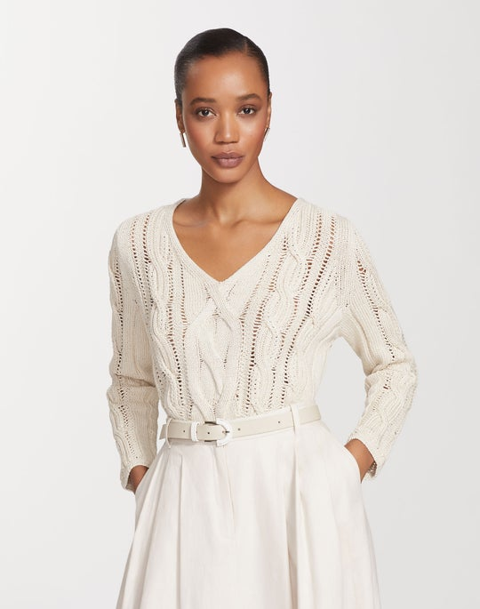 Cotton Silk Tape Wide V-Neck Cable Sweater