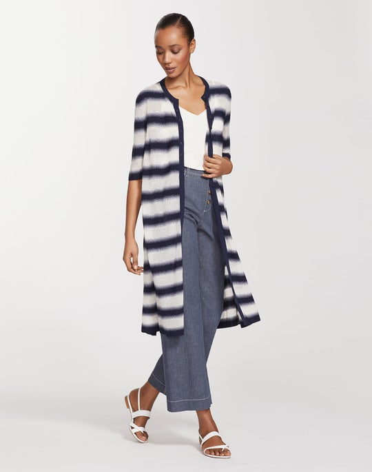 Finespun Voile Sheer Stripe Button Front Duster