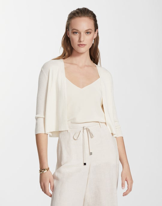 Finespun Voile Cropped Open Front Cardigan