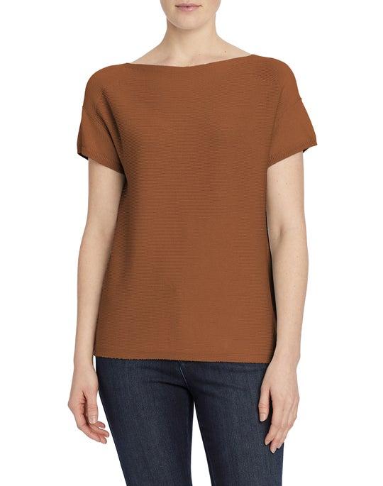Cotton Silk Tape Bateau Neck T-Shirt