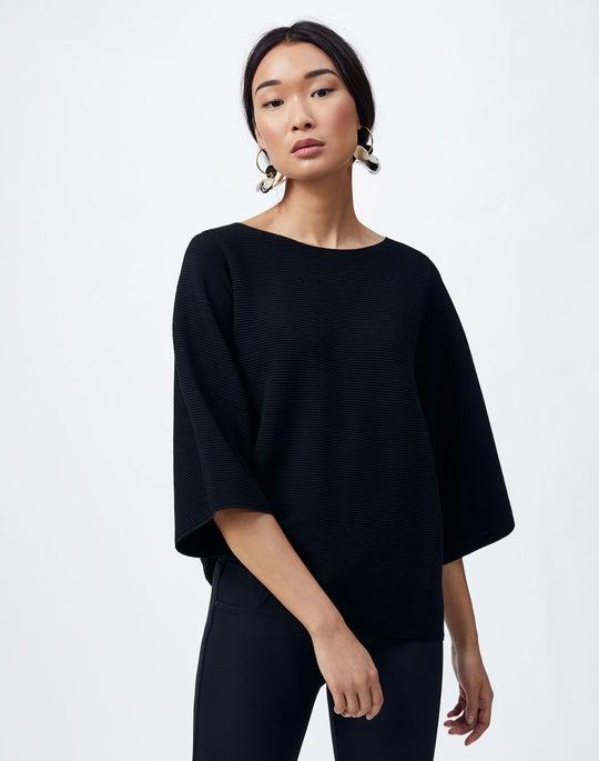 Petite Cotton Crepe Bateau Neck Sweater