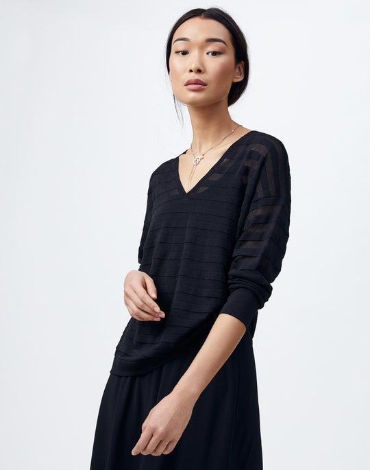 Finespun Voile Sheer Stripe V-Neck Sweater