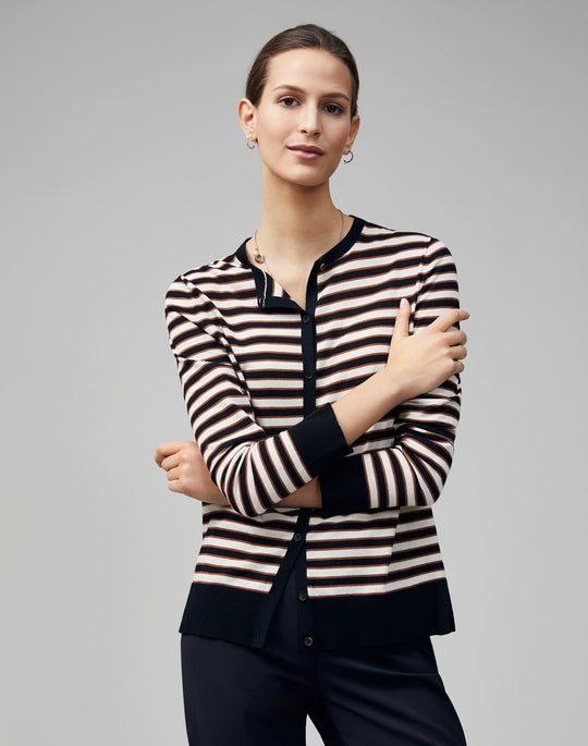Cotton Crepe Striped Button Front Cardigan