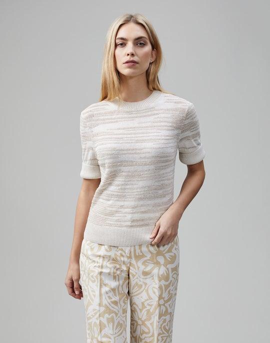 Linen-Viscose Mockneck Cropped Sweater