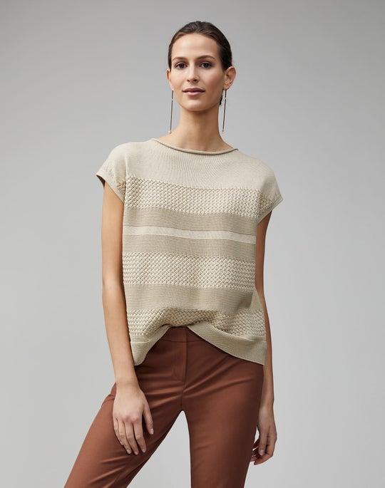 Cotton Silk Tape Textured Stitch Pullover