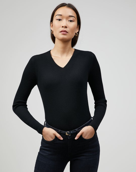 Fine Gauge Merino Ribbed V-Neck Sweater