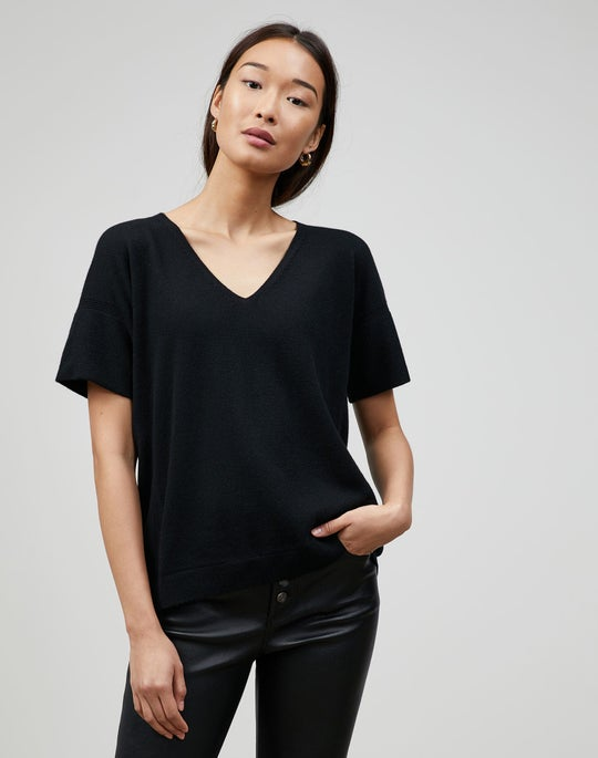 Cashmere V-Neck Rounded Sweater