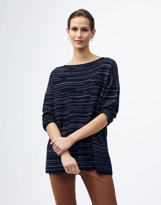 Cotton Crepe Metallic Stripe Pullover