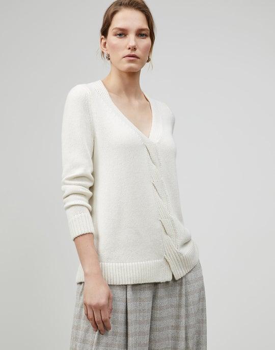 Smoothspun Italian Cashmere-Silk Braided Cable Sweater