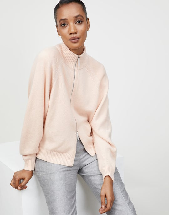 KindCashmere Round Sleeve Zip Front Sweater