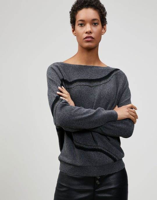 Embellished Cashmere Striped Dolman Sweater